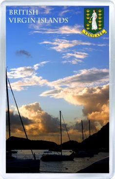 $3.29 - Acrylic Fridge Magnet: British Virgin Islands. Sunset View
