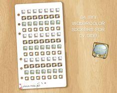 84 Mini Watercolored Oldschool Television Stickers - Perfect for Filofax Personal and Kikki.k Medium Watercolor Stickers, Kikki K, Filofax, Old School, Medium, Mini, Unique Jewelry, Handmade Gifts, Etsy