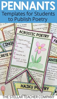 Students have so much fun publishing their poetry on these pennants. They work great to decorate your classroom or bulletin board during National Poetry Month. Writing Prompts For Writers, Picture Writing Prompts, Writing Lessons, Writing Poetry, Writing Workshop, Teaching Writing, Writing Activities, Writing Ideas, Teaching Tips