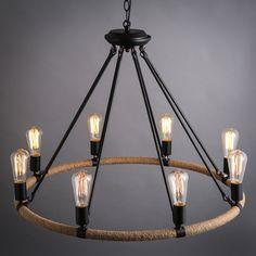 Find More Pendant Lights Information about Vintage Loft Lustres Rope Round…