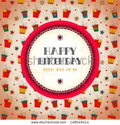 Vintage card. Happy birthday. Vector illustration. Banner design. Vintage background with old paper texture. Hand drawn abstract design template. Vector design element can be used for poster, card etc.(c)AlexTanya