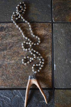 Soldered Horn Necklace, Soldered Tusk Necklace, Deer Antler Necklace,Forked Antler Necklace,Double Horn Necklace, Soldered Antler Necklace by NatnatCreations on Etsy
