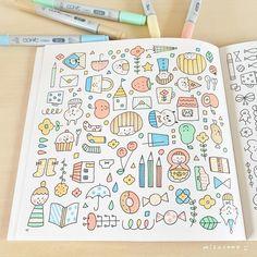 """mizutama on Instagram: """"昨日の動画の完成したページ👍  コピックでぬり絵たのしい! もっと塗りたい😏✨ 裏抜けなんか気にしてドキドキしてないで もっと早く塗ってみればよかったな(笑)  mizutamaのぬり絵、 2016年と2017年に発売した本なので 書店さんにあるかどうか……"""" Girls Night Crafts, Craft Night, Cute Doodles, Message Card, Character Illustration, Notebook, Bullet Journal, Kawaii, Cartoon"""