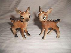 Vintage Porcelain Deer Fawn Salt and Pepper Shakers