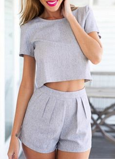 Short Sleeve Crop Top With Slim Shorts - abaday.com