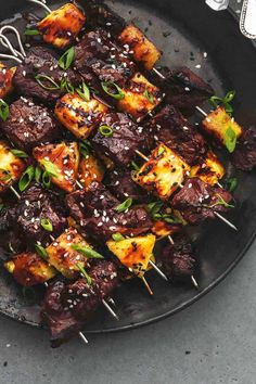 overhead beef and pineapple on metal skewers on black plate Tailgating Recipes, Grilling Recipes, Veggie Recipes, Beef Recipes, Dinner Recipes, Cooking Recipes, Dinner Ideas, Supper Ideas, Fun Recipes