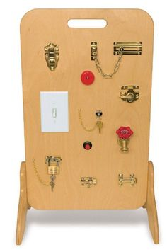 The Locks & Latches Activity Board makes a great Fine Motor activity center for any preschool. This educational toy features a variety of every day activities that kids need to master.These activities Motor Activities, Sensory Activities, Infant Activities, Activities For Kids, Sensory Rooms, Autism Sensory, Baby Sensory, Indoor Activities, Physical Activities