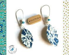 Pendientes mosaico azul blanco cápsulas Nespresso tomado traviesas gotas Pendientes plata perlas de vidrio