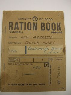 Ration Book front cover by Imperial War Museum Uk History, British History, Dont You Know, British Monarchy, Photo Illustration, World War Two, Vintage Designs, Wwii, Projects To Try