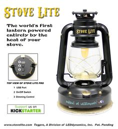 The Stove Lite Pro Thermoelectric Lantern illuminates a room when placed a Wood Stove. Perfect for deer camps, ice fishing shanties, off grid living & preparedness.