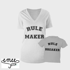 Rule Maker Rule Breaker funny Matching Mommy Daughter or Mommy Son shirts set! Whether youre a new mom or have older kids, we all know the struggle! We