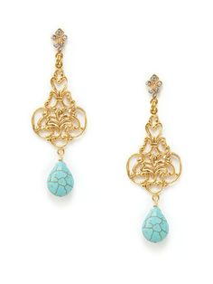 Gold Filigree & Turquoise Drop Earrings
