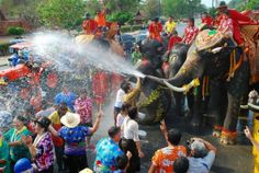 The Songkran festival is celebrated in Thailand as the traditional New Year's Day from 13 to 15 April. It coincides with the New Year of many calendars of South and Southeast Asia. The festiv… Lao New Year, Phra Nakhon Si Ayutthaya, Culture Of Thailand, Songkran Festival, Water Fight, Vientiane, Festivals Around The World, Dragon Boat, New Year Celebration