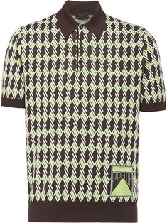 Prada Argyle Jacquard Knit Polo In Brown Mens Polo T Shirts, Men Shirt, Silk Screen T Shirts, Vogue, Mens Style Guide, Knit Shirt, Knitting Designs, Mens Clothing Styles, Green And Brown