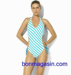 Ralph Lauren Striped Ring-Front Halterkini Blue Bikini is on promation 0f218eb2c2c3e