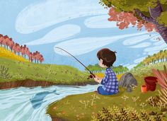 I'm a Vietnamese freelance artist (as Illustrator and comic artist). Fishing Times, Children Sketch, Fish Drawings, Children's Book Illustration, Book Illustrations, Banner Images, Stories For Kids, Comic Artist, Childrens Books