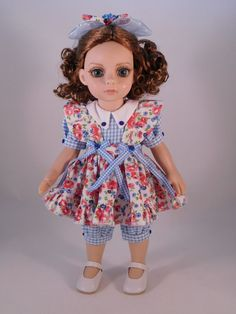 "Blue Checks and Roses for Tonner's 10"" Patsy Doll made by Apple"