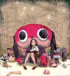 noahbodie:  Paranoia Agent tribute by Toni Infante.  Note how Maromi dominates over everything else in the picture.