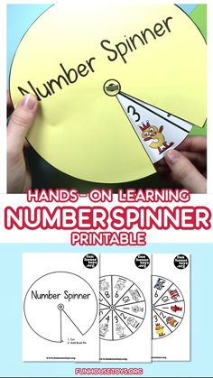 With little prep time and much fun for your kids, we created this Number Spinner Game with Number 1 to You can use it in a variety of hands on math learning, let your child coloring in the numbers or simply print out the color version of this spinner. English Activities For Kids, Learning English For Kids, Creative Activities For Kids, Kids English, Preschool Learning Activities, Math For Kids, Education Games For Kids, Preschool Number Crafts, Learn English