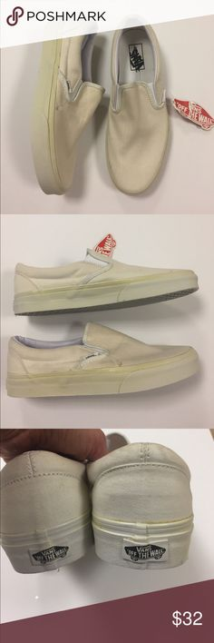 Vans Classic Sneakers/Shoes Women's 10 NWT Vans Classic Slip On style sneakers in beige canvas. Women's size 10 (men's 8.5). New with tag- but these are imperfect, see pics to show the yellowing of the soles. Priced accordingly. Inside label marked to deter bogus store returns. Vans Shoes Sneakers