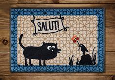 Fußmatte mit #Katze Friedegunde und #Vogel Fred.