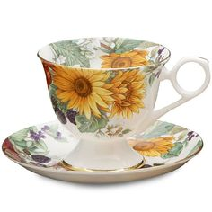 Autumn Floral Cup and Saucer - Sunflower