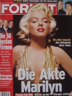 Format - August 2nd 2002, magazine from Austria. Front cover photo of Marilyn Monroe by Gene Kornman, 1953.