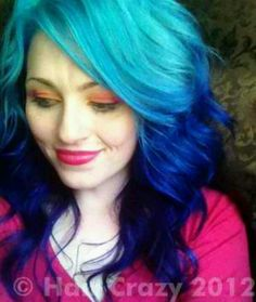 Blue & turquoise hair ombre    the upkeep would suck, but it's pretty to look at ;)