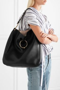 J.W.Anderson - Hobo Pierce Textured-leather Shoulder Bag - Black