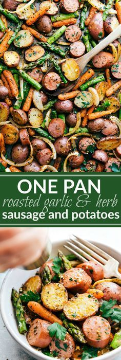 One Pan Roasted Garlic Potatoes, Asparagus, Carrots, and Sausage tossed with olive oil and an amazing seasoning mix. Potato And Asparagus Recipe, Red Potato Recipes, Herb Recipes, Carrot Recipes, Sausage Recipes, Chicken Recipes, Cooking Recipes, Healthy Recipes, Cooking Tips