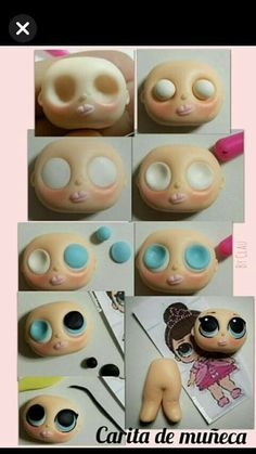 eyes - super tutorial with fimo clay. Cute Polymer Clay, Polymer Clay Dolls, Polymer Clay Projects, Polymer Clay Creations, Cake Topper Tutorial, Fondant Tutorial, Fondant People, Fondant Animals, Clay Baby