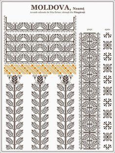 Ie Moldova Pângărați Folk Embroidery, Learn Embroidery, Embroidery Patterns, Quilt Patterns, Beading Patterns, Knitting Patterns, Cross Stitch Borders, Cross Stitching, Cross Stitch Patterns