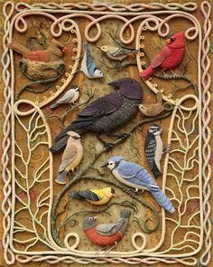 Birds of Beebe Woods. Stump Work by Salley Mavor.