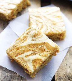 Cream Cheese Swirled Carrot Cake Bars from Creme De La Crumb