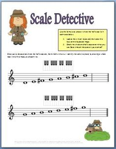 Music theory worksheet for learning the whole and half step pattern in major scales