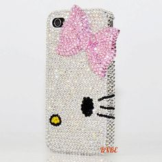3D Luxury Swarovski Crystal Pink Hello Kitty Bow Design Bling Case Cover for iphone 4 4s