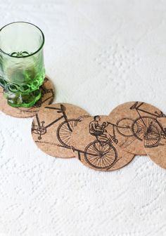 Bike Ride Cork Coaster Set- cute!