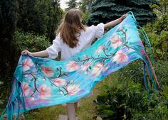 Impressive nuno felted scarf with magnolia flowers by filcAlki