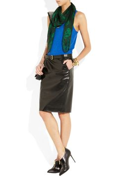 Gucci Leather Skirt Shown here with: J.Crew top, Alexander McQueen's skull-print silk-chiffon scarve In a combination of dark-green and bottle-green shades,     Alexander McQueen bangle, bracelet and  Brian Atwood boots.