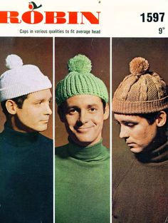 Vintage Knitting Pattern Mens Hats Bobble Hats Hipster Robin 1597 by lechatrire on Etsy Wool Shop, Make Do And Mend, Cable Knit Hat, Bobble Hats, Crochet Magazine, Pom Pom Hat, Vintage Crafts, Knitting Accessories, Vintage Knitting