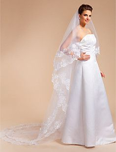 One-tier Cathedral Wedding Veil With Lace Applique Edge – USD $ 29.99