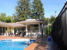 Roof top deck with glass railing overlooking swimming pool.