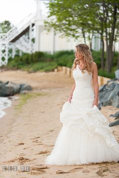 Bride waiting for the Groom for the first glance. Kent Island Maryland Chesapeake Bay Beach Club wedding ceremony and getting ready photo, by wedding photographers of Leo Dj Photography. http://leodjphoto.com