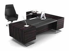 Contemporary executive wooden office desk with metal structure - DECK LEADER - ArchiExpo