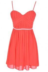 Charmed Life Embellished Designer Dress in Red Coral