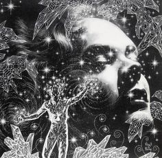 Title: The Crystal Man Artist: Virgil Finlay Black And White Illustration, Art And Illustration, Fantasy Kunst, Fantasy Art, Science Fiction Kunst, Comic Manga, Psy Art, Scratchboard, Modern Artists