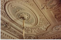 Can a ceiling ever be too ornate? I think not. Clandon Park, Surrey, and a Favorite Room - The Palladia rooms ceiling with Mr Fowler's coloring~an object lesson in how to paint architectural ornament Ceiling Decor, Ceiling Design, Clandon Park, Cottage Stairs, Gypsum Decoration, Door Rugs, Ceiling Detail, Decorative Mouldings, Christmas Door Decorations