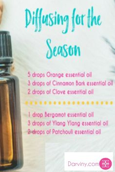 Who LOVES essential oils?   This time of year, I love diffusing oils around the house. You can diffuse single oils or blends.   Today, I am prepping for our Thanksgiving celebration tomorrow, so I wanted to share a couple of fun seasonal recipes for your diffuser.   Do you have a favorite recipe blend you like to diffuse? Share below. Download my free ebook: https://beautiful.darviny.com/