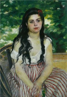 Portrait idea: Focus on the person,use pallet knife/various green shades for back ground. In summer(The Gypsy) 1868 by Renoir