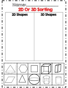 2D and 3D shape sorting part of 40 page geometry unit! common core aligned